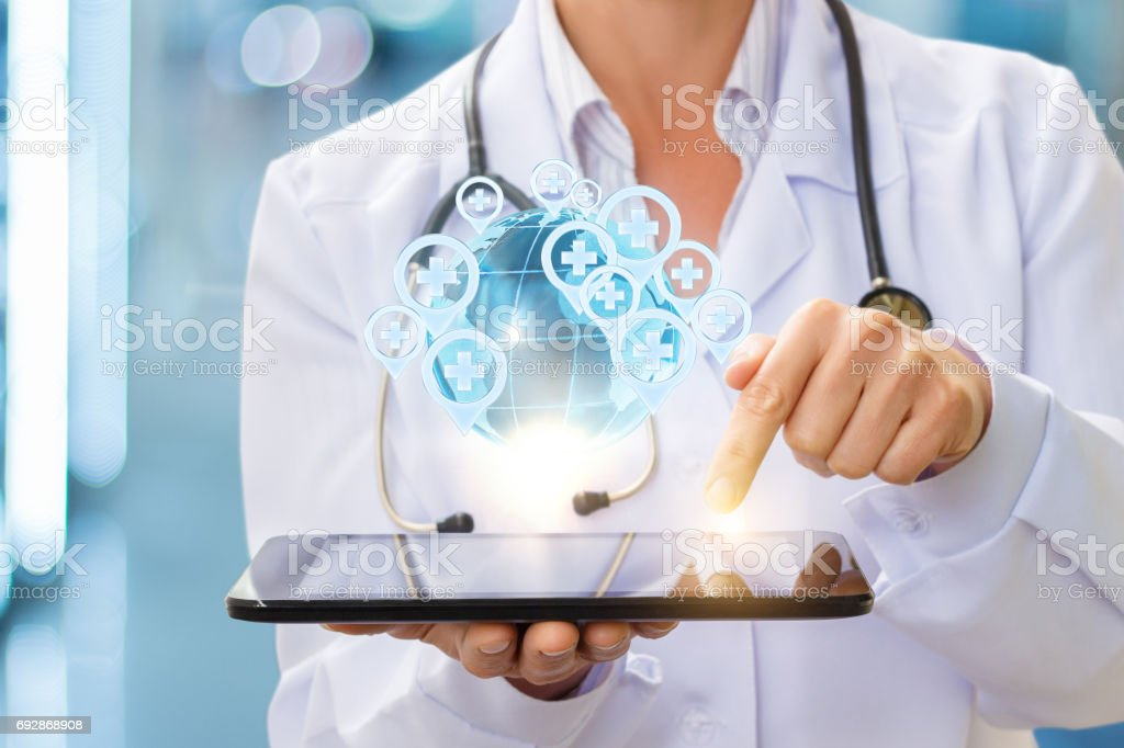 Medical services around the world in the tablet. stock photo