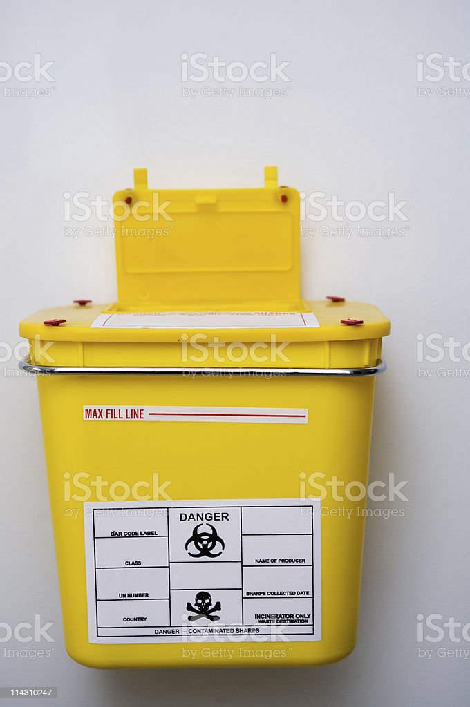 Medical sharps waste container stock photo