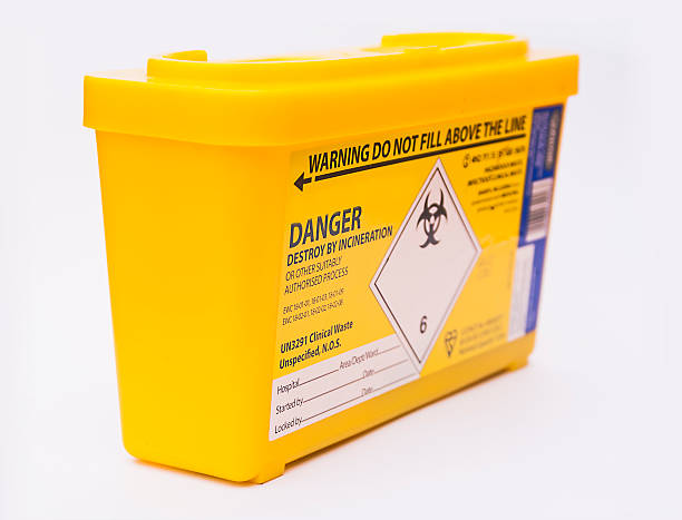 Medical sharps waste container Medical or clinical sharps yellow waste container toxic waste stock pictures, royalty-free photos & images
