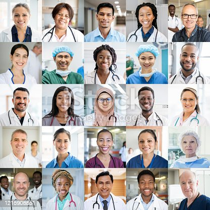 Montage of doctors and nurses in hospitals around the globe. Professional healthcare staff headshot portraits smiling and looking to camera. International people working in medicine.