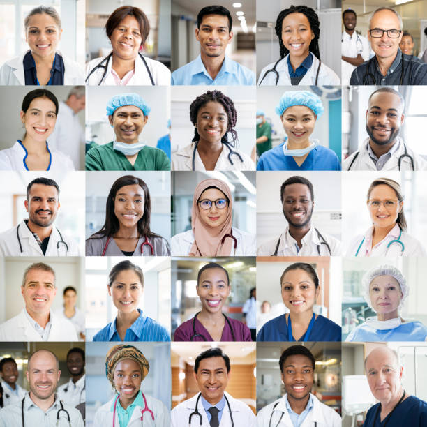 Medical staff around the world - ethnically diverse headshot portraits Montage of doctors and nurses in hospitals around the globe. Professional healthcare staff headshot portraits smiling and looking to camera. International people working in medicine. community health stock pictures, royalty-free photos & images