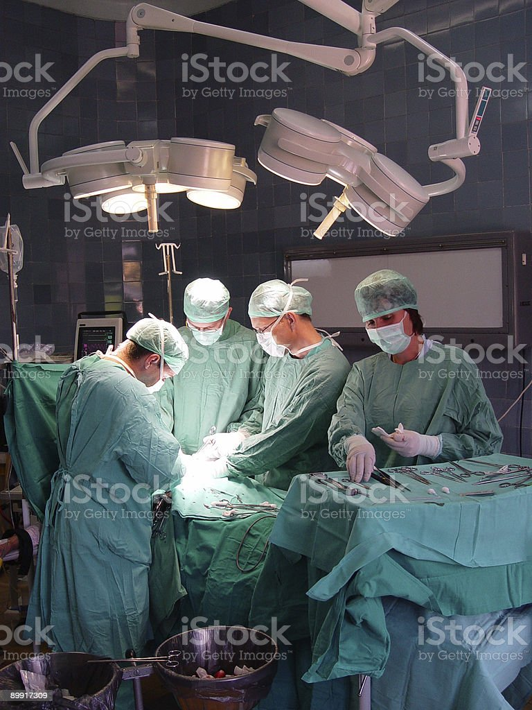 Medical staff scrubbed in for a surgery royalty-free stock photo