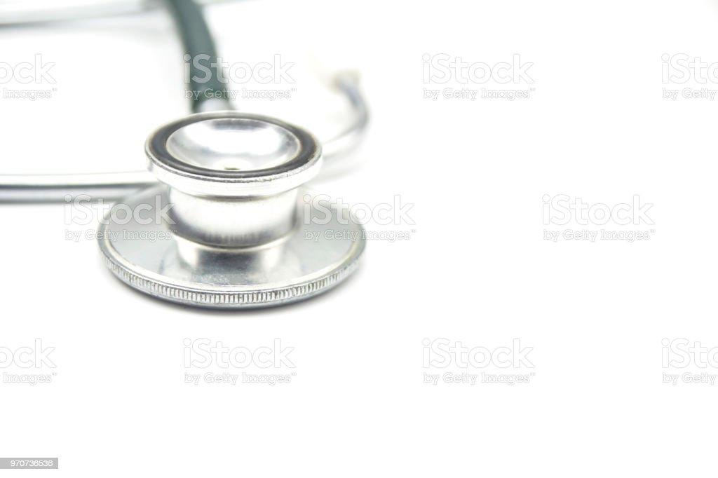 Medical stethoscope on white background stock photo