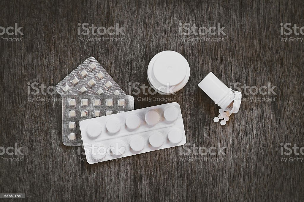 Medical Supplies on the Table at the Home closeup stock photo