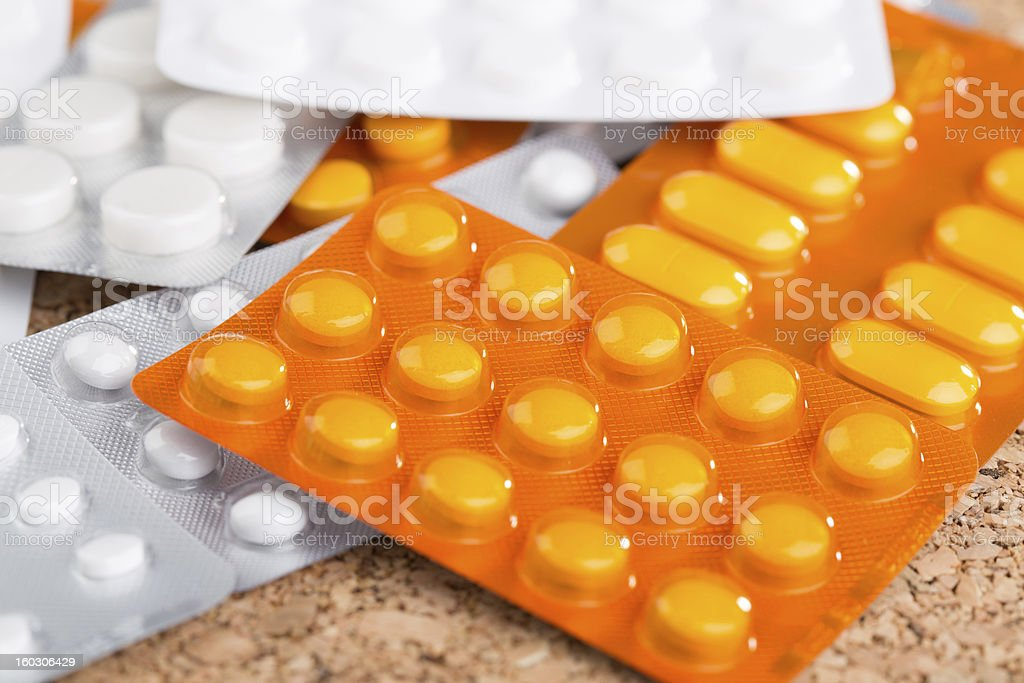 Medical supplies, pills and capsules royalty-free stock photo