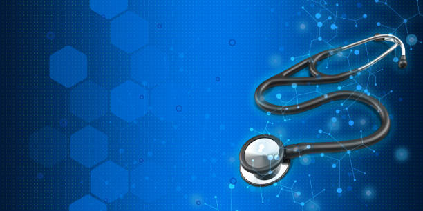 3D Medical symbol image about stethoscope on high tech blue background stock photo