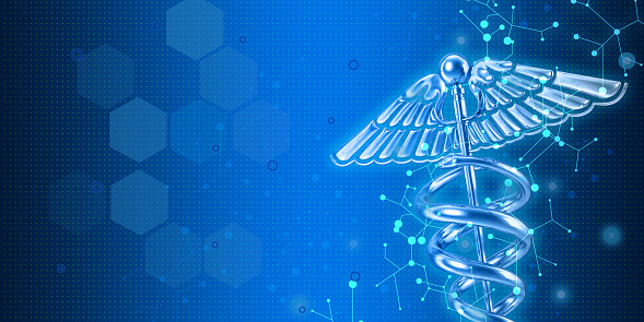Caduceus image as medical symbol on modern blue background with large copy space.