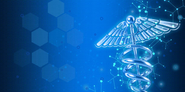 medical symbol image on high tech blue background - immagine foto e immagini stock