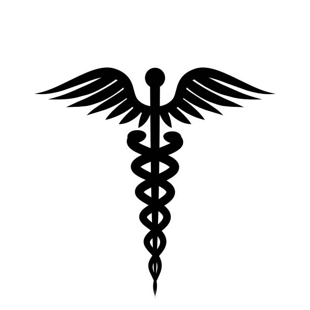 medical symbol. isolated on white background. silhouette illustration. - caduceus stock pictures, royalty-free photos & images