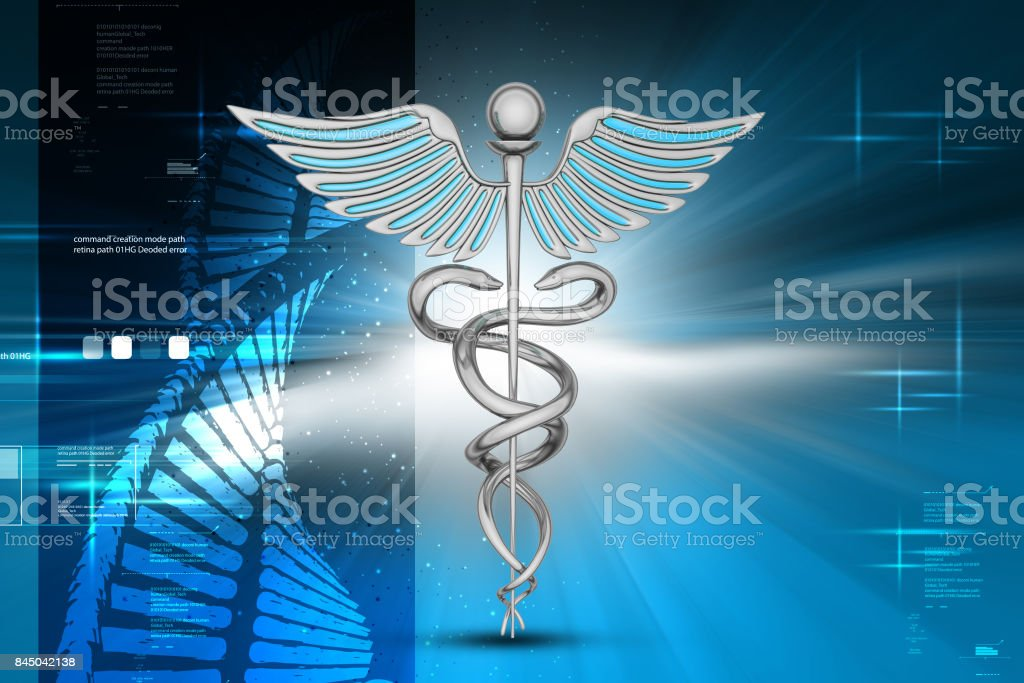 Medical Symbol With Dna Cell Stock Photo More Pictures Of Caduceus