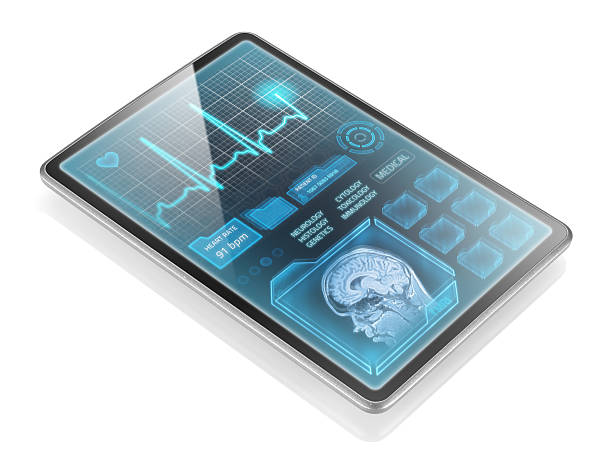 Medical tablet Modern tablet with medical information isolated on white background neuroscience patient stock pictures, royalty-free photos & images