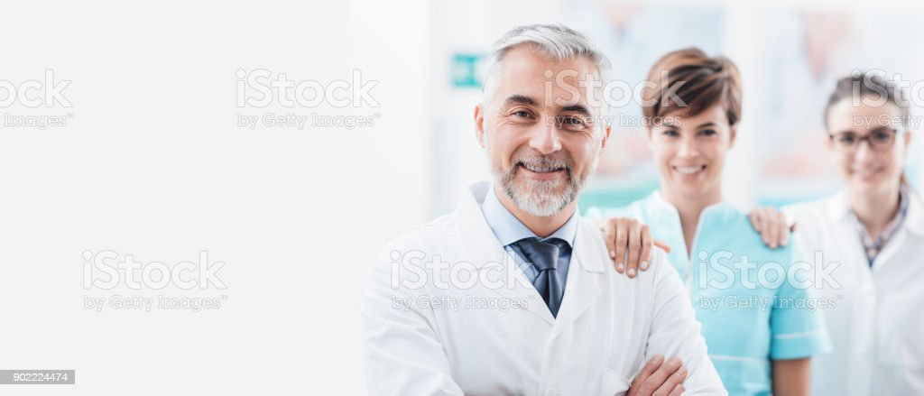 Medical team at the hospital stock photo