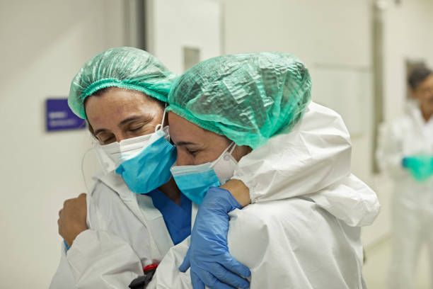 Medical Team Encouragement and Support During Pandemic stock photo