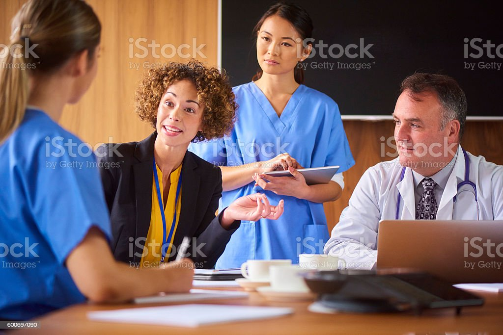 medical team with the hospital administrator stock photo