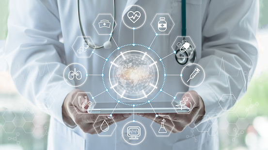 Medical tech science, innovative iot global healthcare ai technology, World health day with doctor on telehealth, telemedicine service analyzing online on EHR, EMR patient digita data on tablet in lab