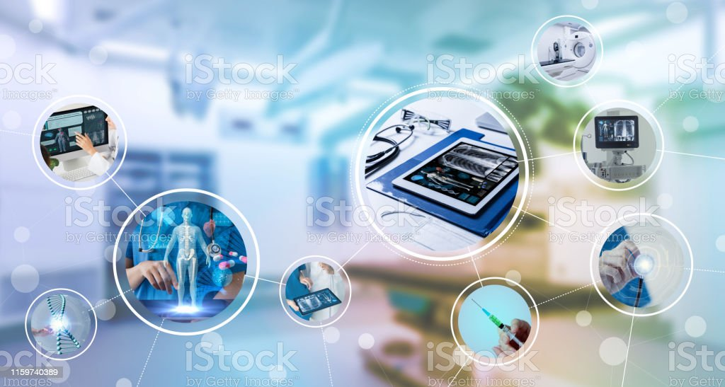 Medical technology and communication network concept. - Royalty-free Ambulance Stock Photo