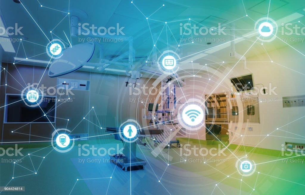 Concepto red médico de tecnología y comunicación. - foto de stock