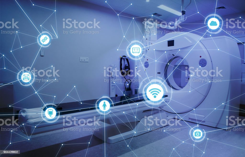 Medical technology and communication network concept. stock photo