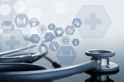 Medical technology, telemedicine concept, Stethoscope with medical icons on virtual screen for medical background