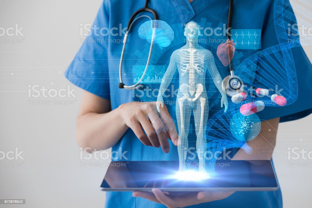 Medical technology concept. Electronic medical record. stock photo
