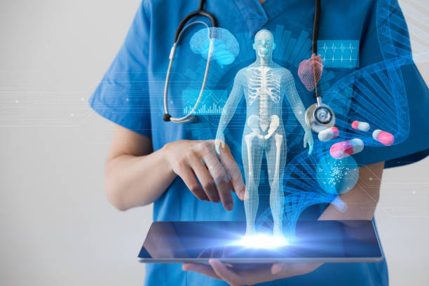 medical technology concept. electronic medical record. - hologram stock photos and pictures