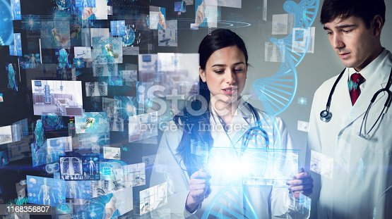 864464934istockphoto Medical technology concept. Gene therapy. Electronic medical record. 1168356807