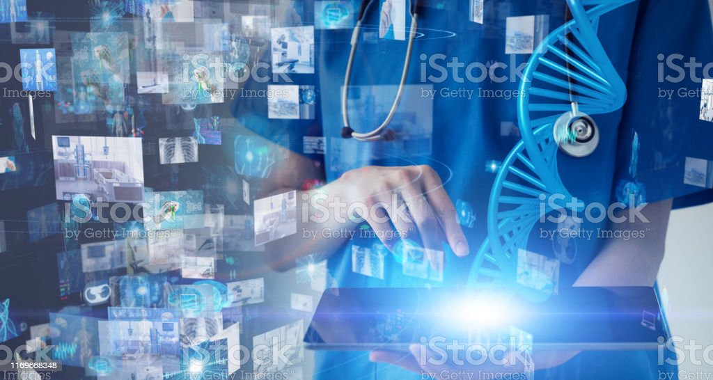 Medical technology concept. Gene therapy. Electronic medical record. - Royalty-free 5G Stock Photo