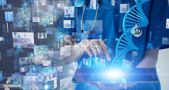 864464934istockphoto Medical technology concept. Gene therapy. Electronic medical record. 1169668348