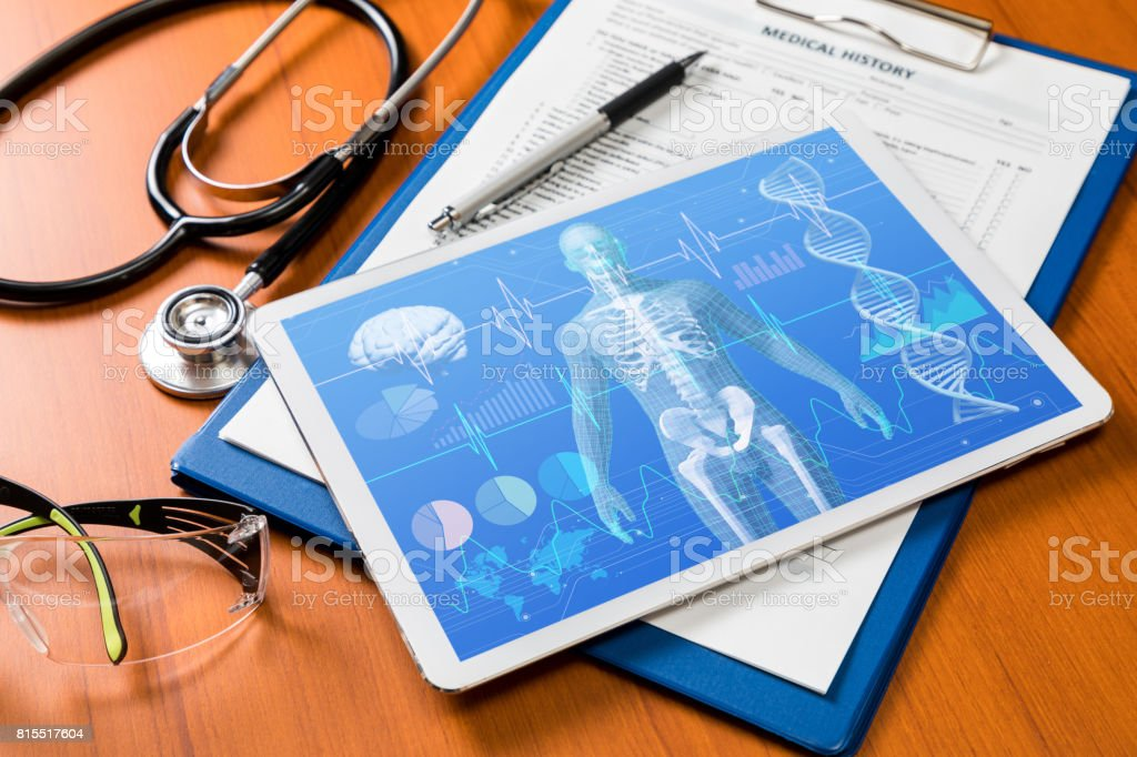medical technology concept, human body and vital sign stock photo