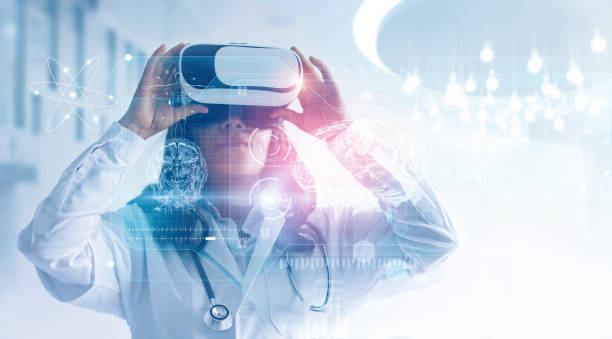medical technology concept. mixed media. female doctor wearing virtual reality glasses. checking brain testing result with simulator interface, innovative technology in science and medicine. - futuristic technology imagens e fotografias de stock