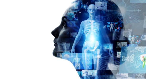 concetto di tecnologia medica. medicina remota. cartella clinica elettronica. - il corpo umano foto e immagini stock