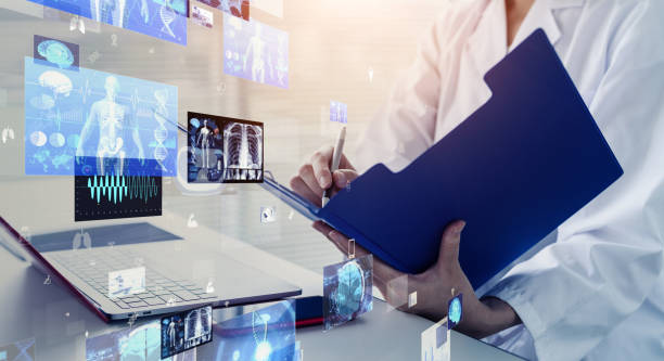 Medical technology concept. Remote medicine. Electronic medical record. stock photo