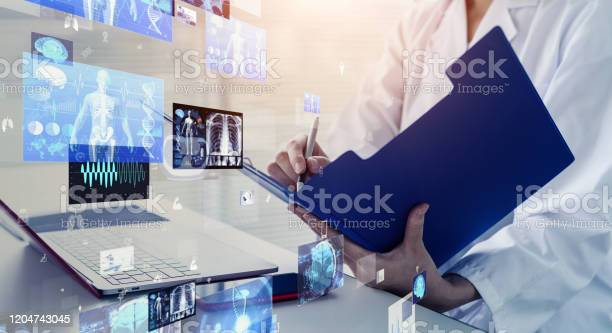 Medical Technology Concept Remote Medicine Electronic Medical Record Stock Photo - Download Image Now