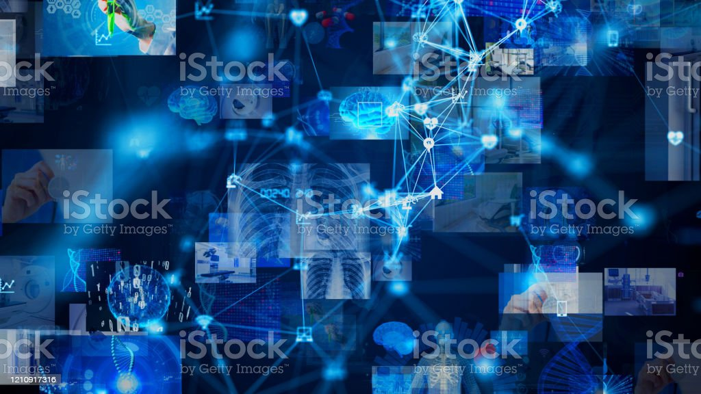 Medical technology concept. Remote medicine. Electronic medical record. - Royalty-free 5G Stock Photo