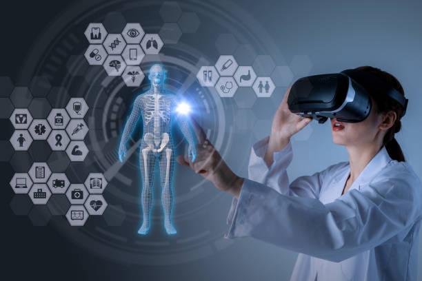 medical technology concept. virtual reality. 3d rendering. mixed media abstract. - medical technology стоковые фото и изображения