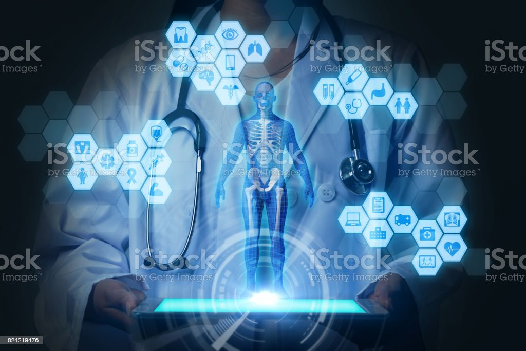 medical technology concept. virtual reality. 3D rendering. mixed media abstract. stock photo