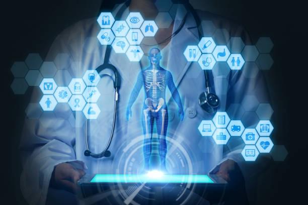 conceito de tecnologia médica. realidade virtual. renderização 3d. resumo de mídia mista. - equipamento médico - fotografias e filmes do acervo
