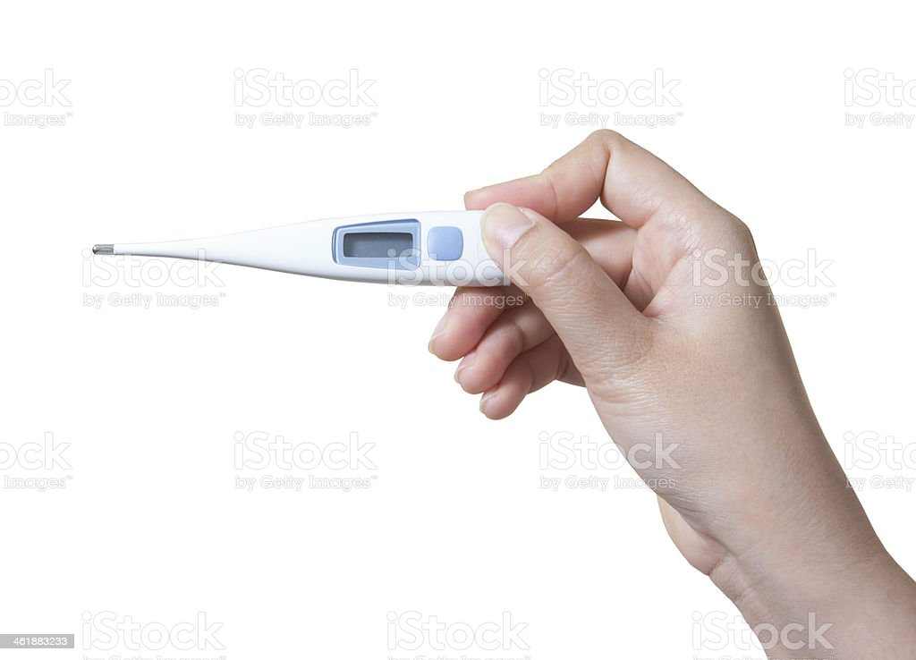 Medical thermometer in hand isolated on white background stock photo