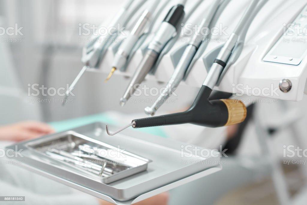 Medical tools at dental clinic stock photo