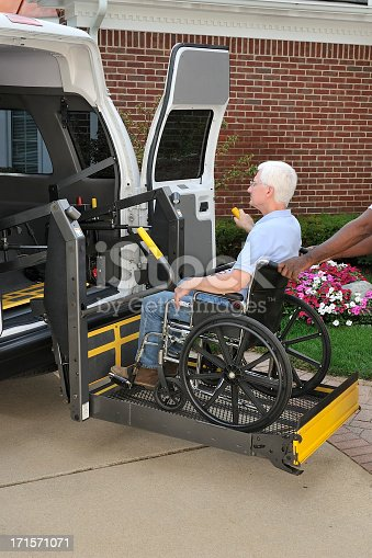466456685 istock photo Medical transport van with mechanical lift 171571071