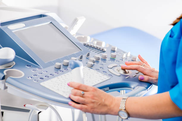 medical ultrasound scanner close-up. Doctor makes ultrasound diagnosis stock photo