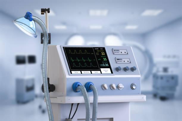 Medical ventilator machine stock photo