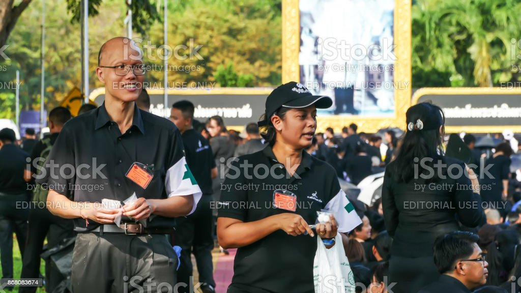 Medical volunteer in The Royal Cremation for His Majesty the late King Bhumibol Adulyadej stock photo