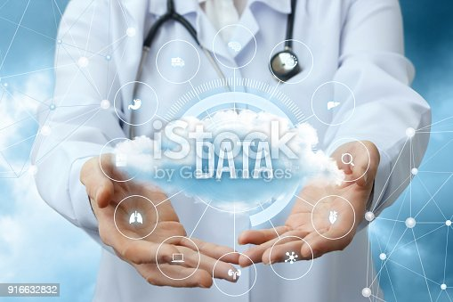 istock Medical worker shows the data cloud. 916632832