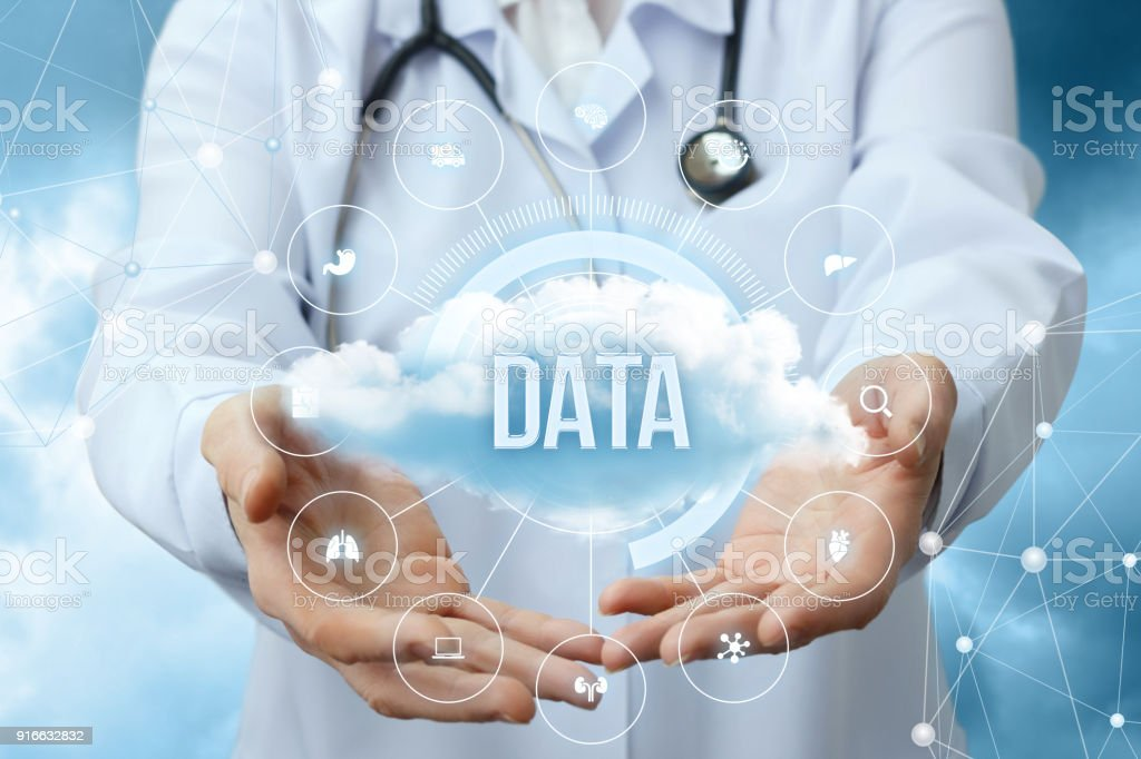 Medical worker shows the data cloud. stock photo