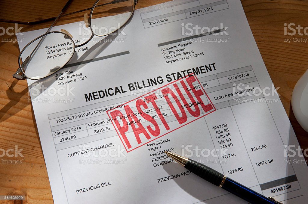 Medical/Hospital Statement Past Due stock photo