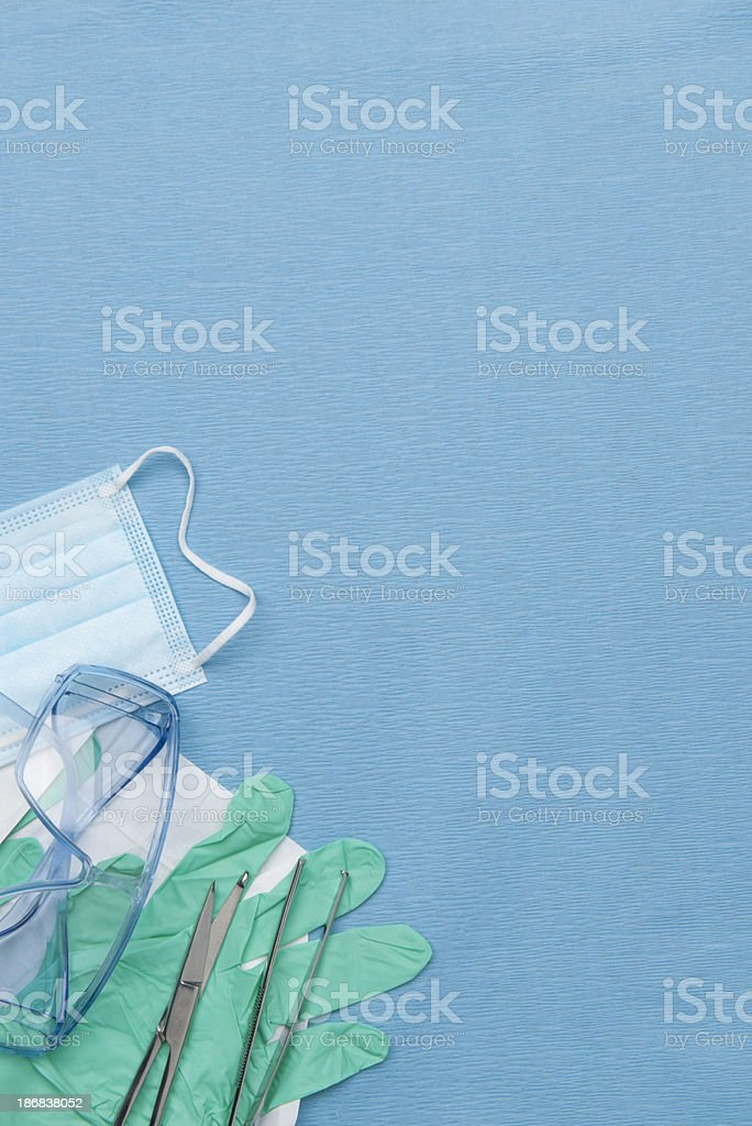 Medical/surgical equipment on blue drape background stock photo