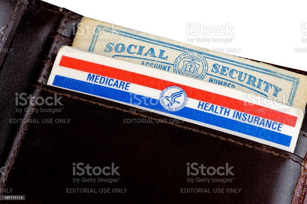 U.S. Medicare and Social Security Cards stock photo