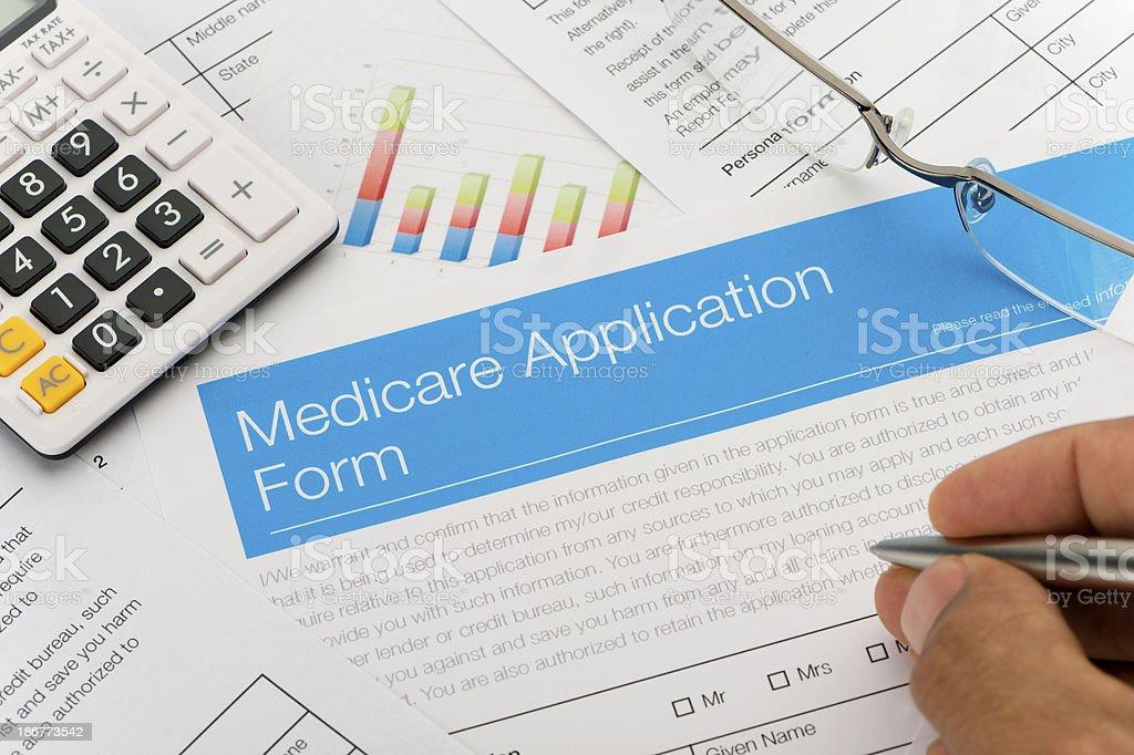 Medicare application form stock photo