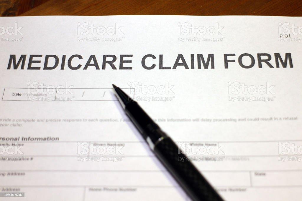 Medicare Claim Form Closeup stock photo